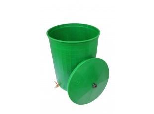 """Бочка пластиковая 300 литров для воды и полива с краном 3/4"""" и крышкой, зеленая"""