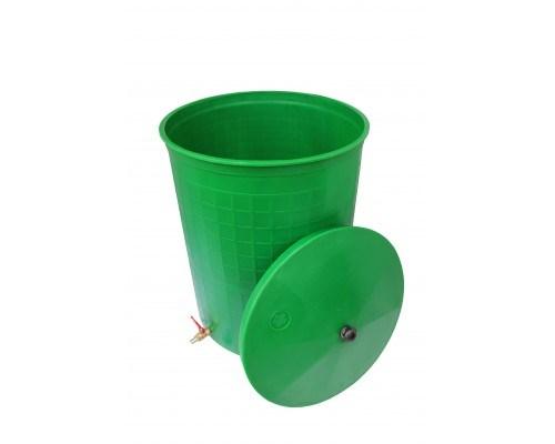 """Бочка пластиковая 165 литров для воды и полива с краном 3/4"""" и крышкой, зеленая"""