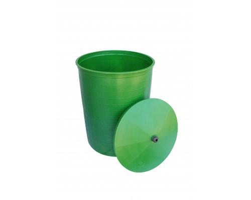 Бочка пластиковая 165 литров для воды и полива с крышкой, зеленая